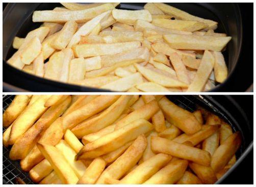 Les frites, avant - après