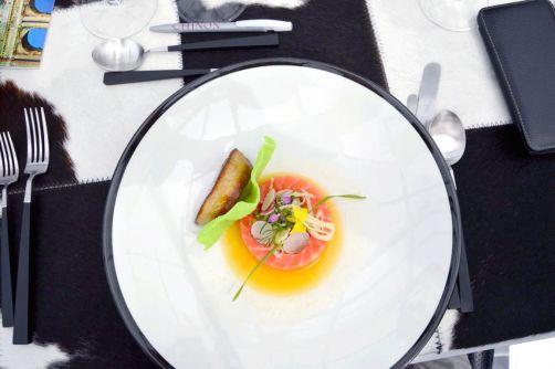 Saumon Salma, Foie gras, Cocktail Orange Gingembre Citronnelle Saké, Fraicheur d'Herbes