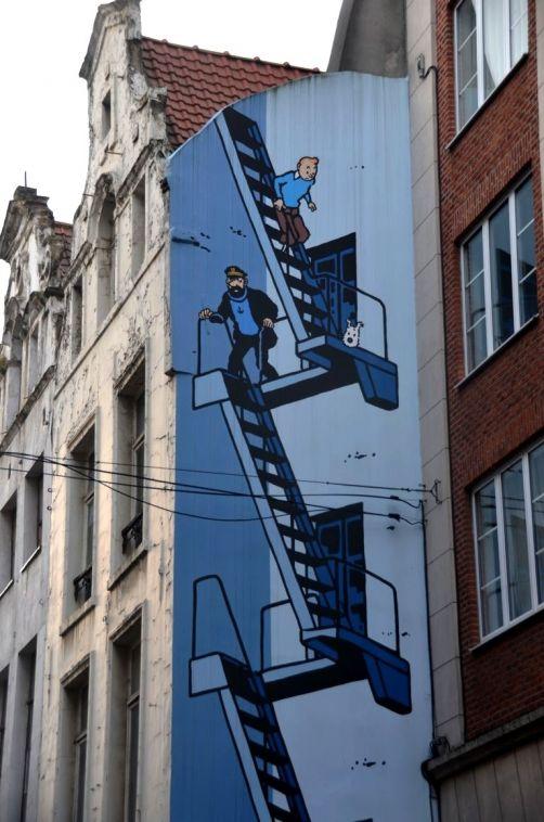 BD 1 - Fresque de Tintin Rue de l'Etuve